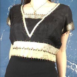 Vintage Indian Black Beaded Crop Top Blouse